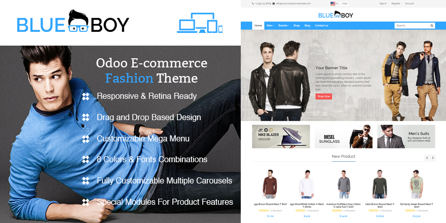 Theme Blueboy Odoo v9 Ecommerce for Fashion Store