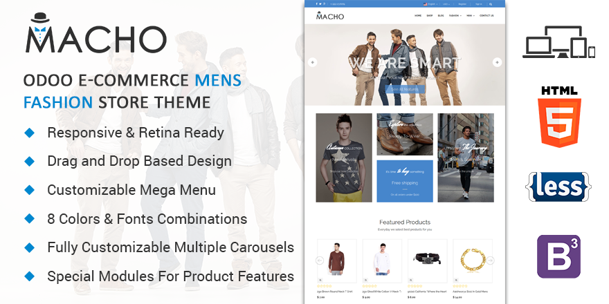 Theme Macho Odoo v9 Ecommerce for Mens Fashion Store