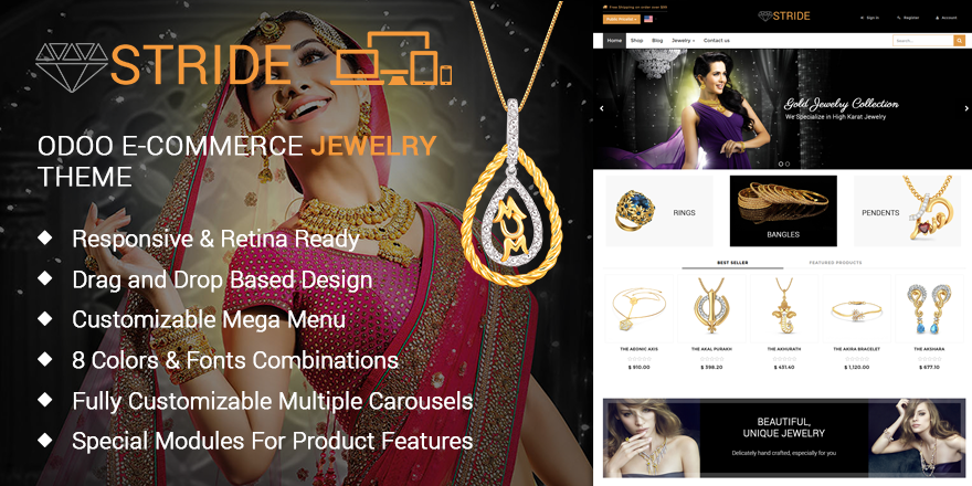 Theme Stride Odoo v9 Ecommerce for Jewellery Store