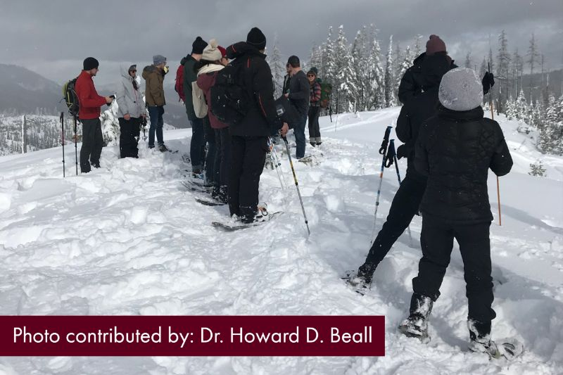 Image of snowshoeing group. Photo contributed by: Dr. Howard D. Beall