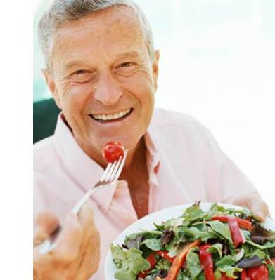 Man eating healthily