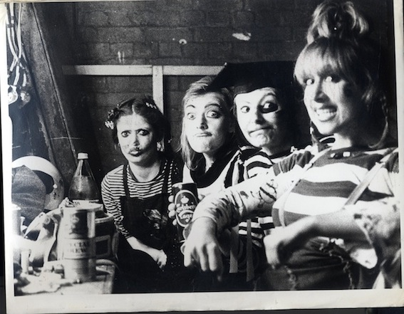 Beryl and the Perils, Is Dennis Really the Menace? 1979, Didi Hopkins, Claudia Boulton, Laurel-Jana Marks, Christine Ellerbeck in the dressing rooms at the Half Moon Theatre Alie Street. Photo © by Sheila Burnett