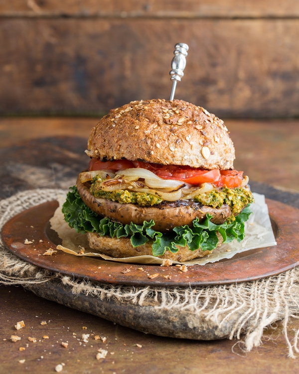 Grilled Portobello Burger with Sun-Dried Tomato Kale-Hemp Pesto