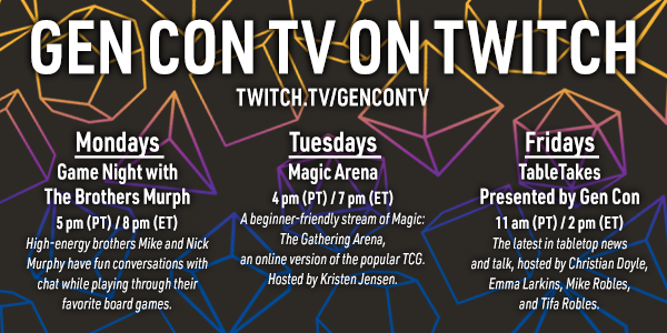 A schedule of our programming on twitch.tv/gencontv
