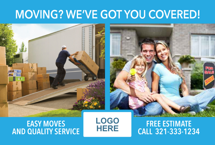 Postcard marketing example for moving company. Front of card.