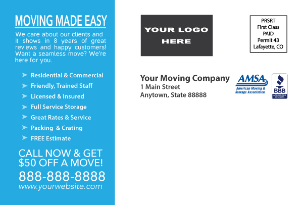 A postcard design example for moving company. Back of the card.