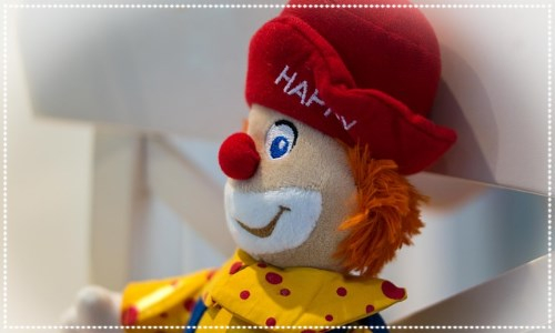 A soft toy of a clown