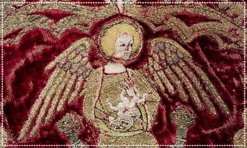 English Medieval embroidery depicting angels & saints
