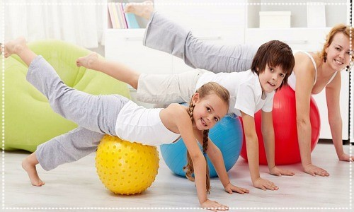 mum and kids exercising