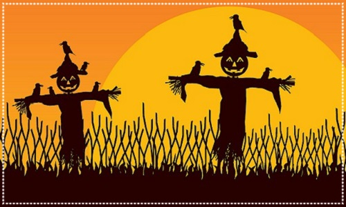 Pumpkin-head scarecrows