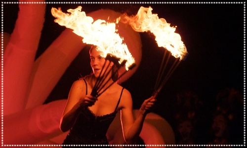 Tynemouth fireworks Stiltwalker fire juggler