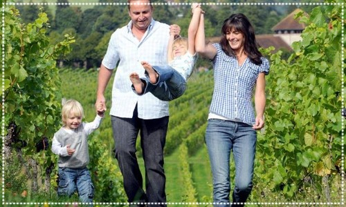 Family having fun in a Vineyard