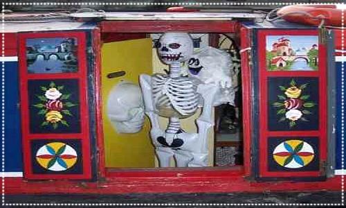 skeleton in boat