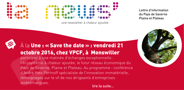 À la Une : « Save the date » : vendredi 21 octobre 2016, chez VPCF, à  Monswiller