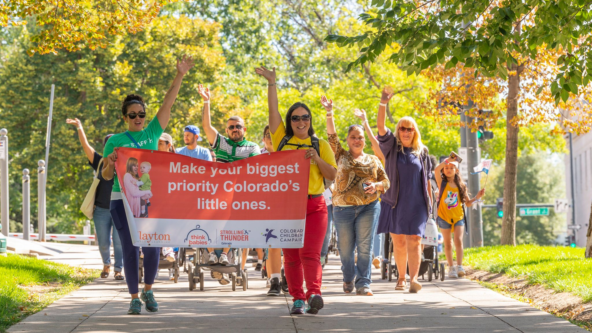 Families and early childhood organizations marching to remind Colorado to THINK BABIES! Photo by Scott Dressel-Martin