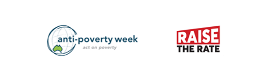 RAISE THE RATE and ANTI POVERTY WEEK LOGOS