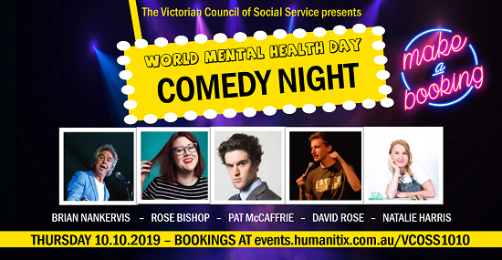 comedy banner promo image featuring 5 comedians