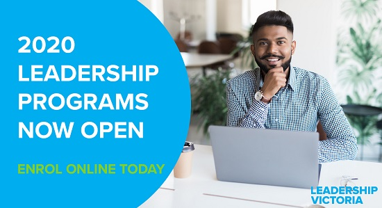 Leadership Victoria promo banner for new program open for enrolment. Shows a man sitting at a laptop, smiling at the camera.