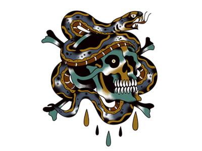 Skull-And-Snake-Tattoo