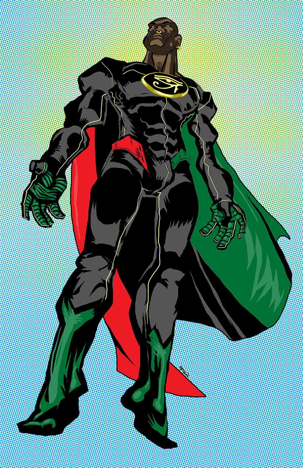 """Super Heru"" created by J.R. Lemar, artwork by Samax Amen"