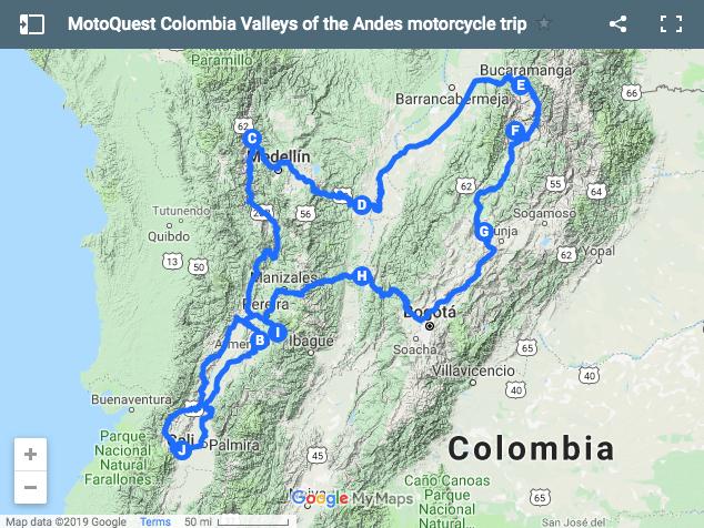 MotoQuest Colombia Valleys Trip