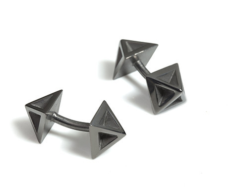 Pyramid Cufflinks in Black Rhodium