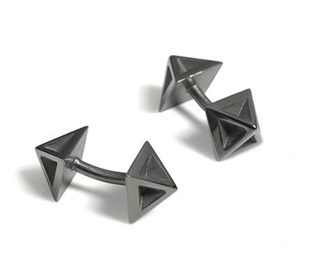 Pyramid Cufflinks in Black Rhodium