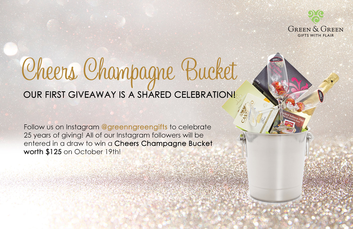 Champagne Giveaway - follow @greenngreengifts on Instagram to be entered