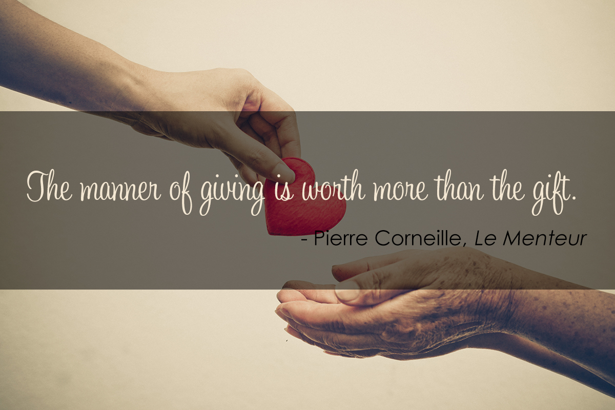 Hands reaching to each other and passing a heart, with a quote by Pierre Corneille