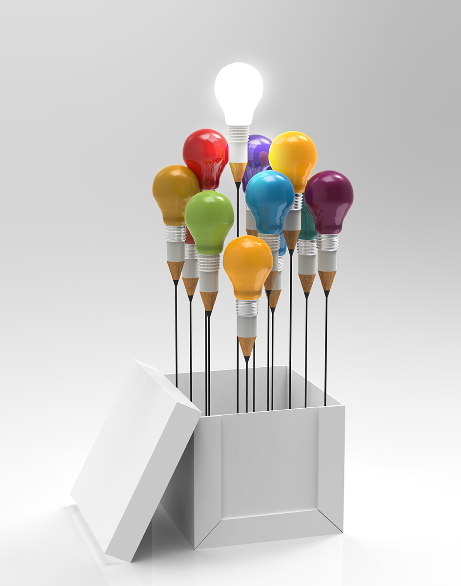 Image of colourful light bulbs coming out of a white box.