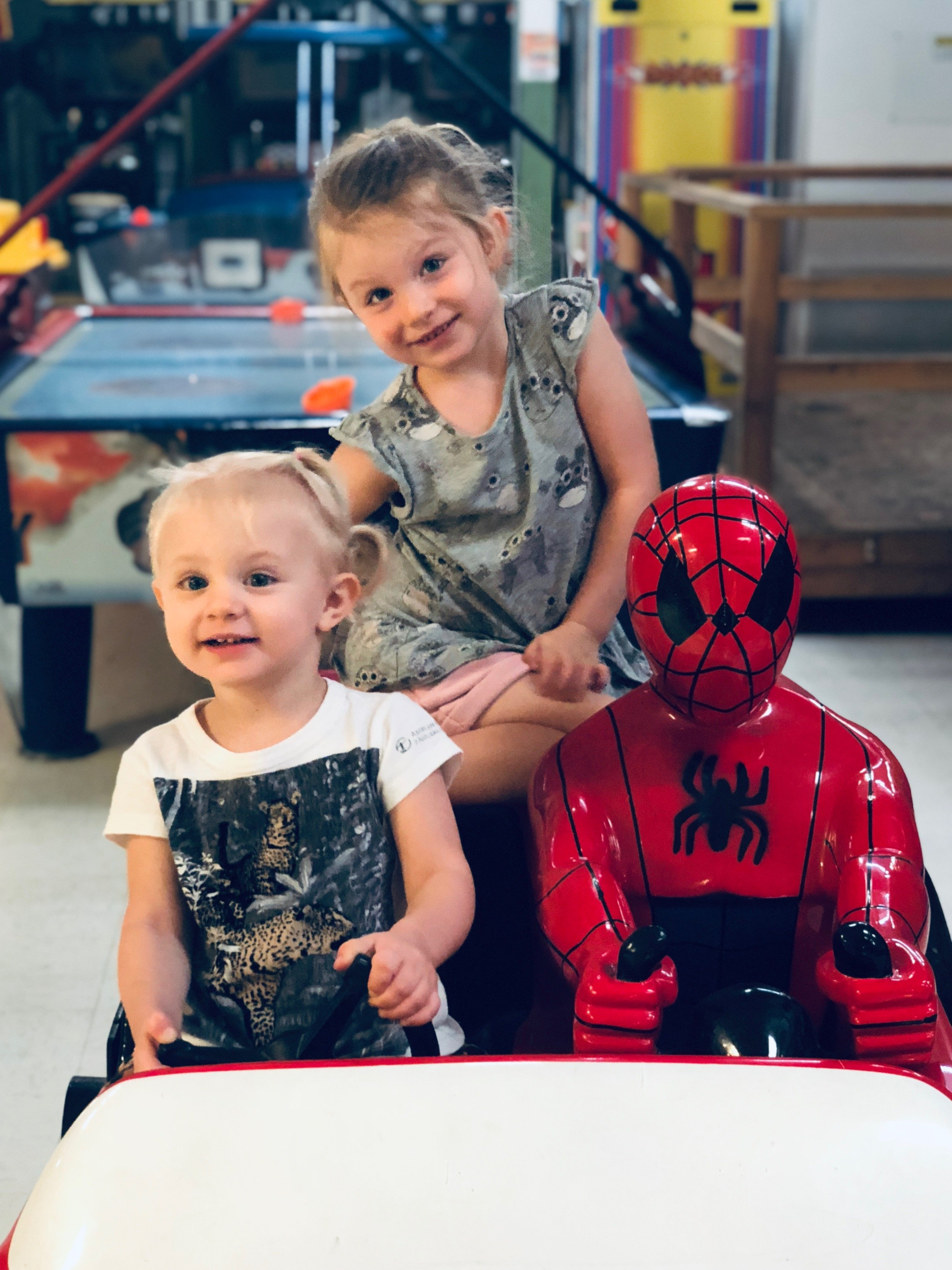 The girls, Nevey and Astrid, with Spidey
