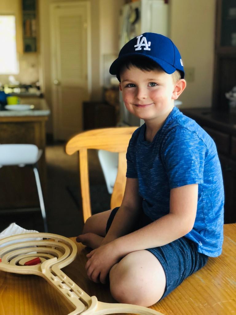 Natey, our grandson, in Dodger Blue!