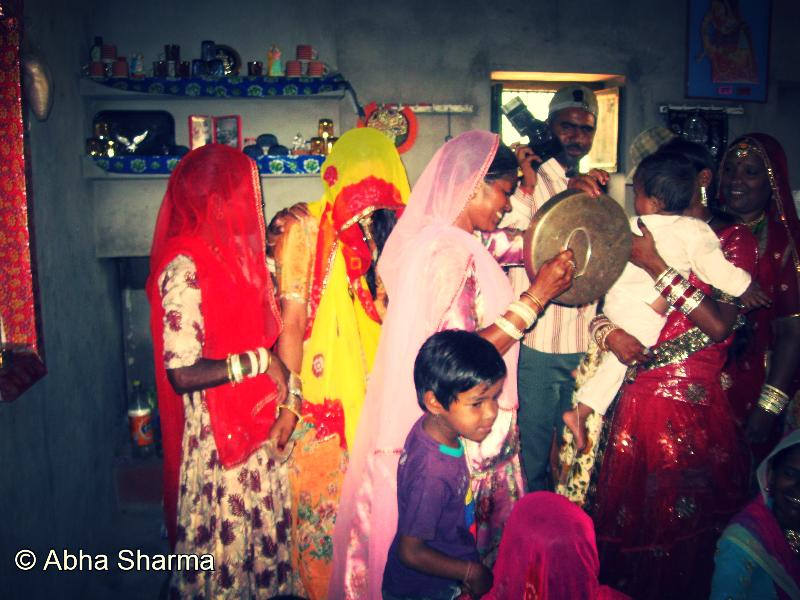 An Indian family celebrating the birth of a girl child. (photo credit: Abha Sharma)