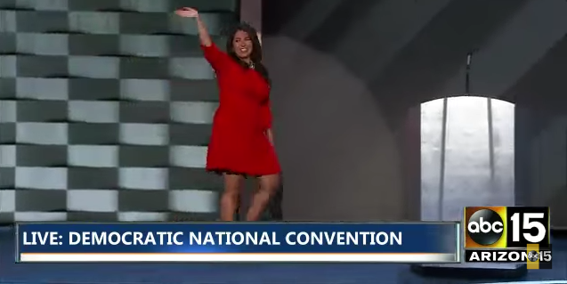 Colorado House Majority Leader Crisanta Duran strolls onto stage at the Democratic National Convention yesterday. Click image for video.