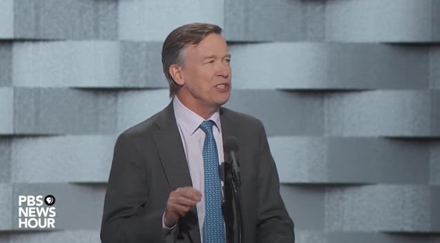 Colorado Gov. John Hickenlooper speaks on the final night of the Democratic National Convention, not long before Hillary Clinton accepted the Democratic nomination for president. Click image for video.