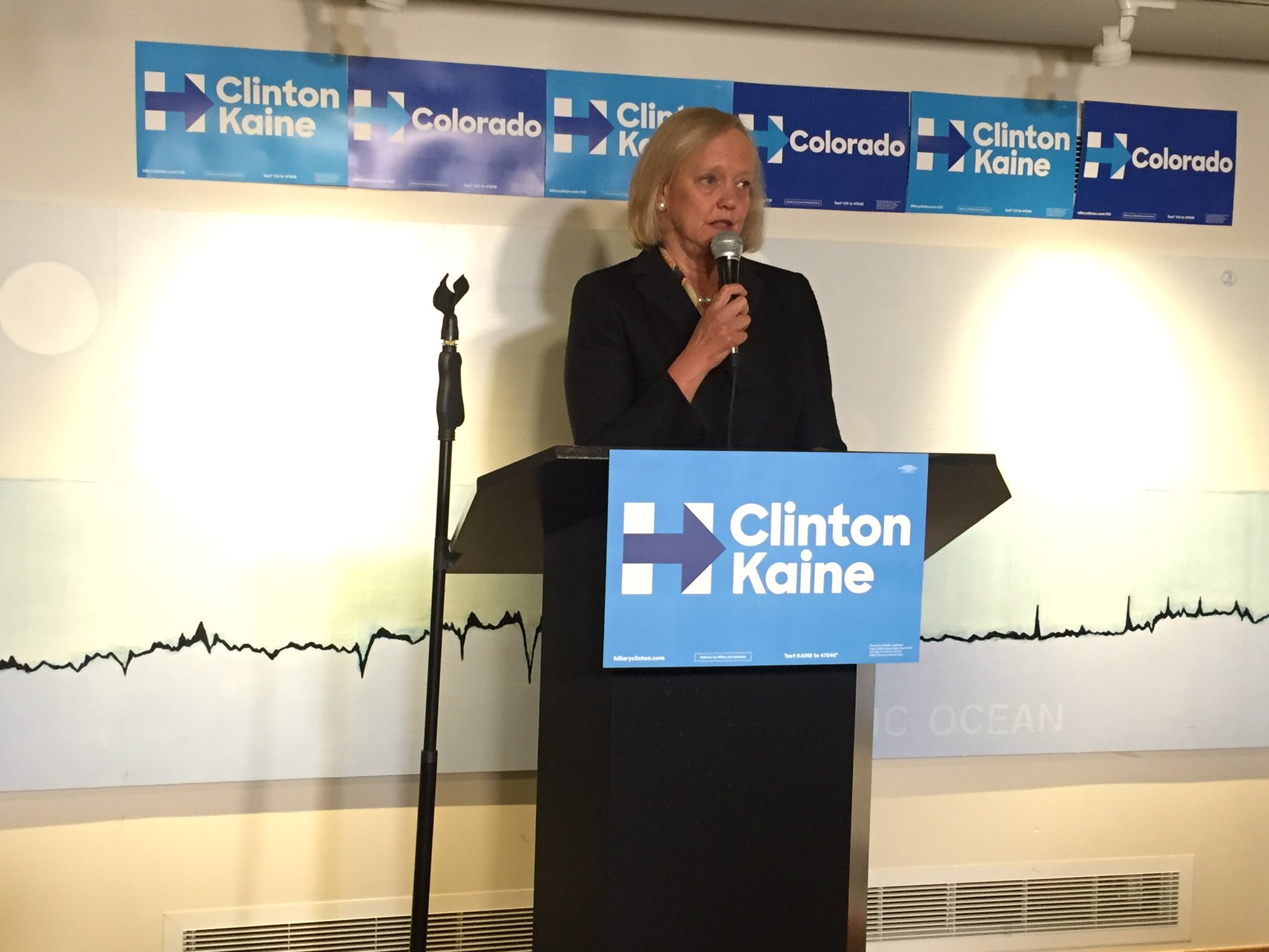 """Lifelong Republican"" Meg Whitman speaking in the basement at Union Station yesterday."