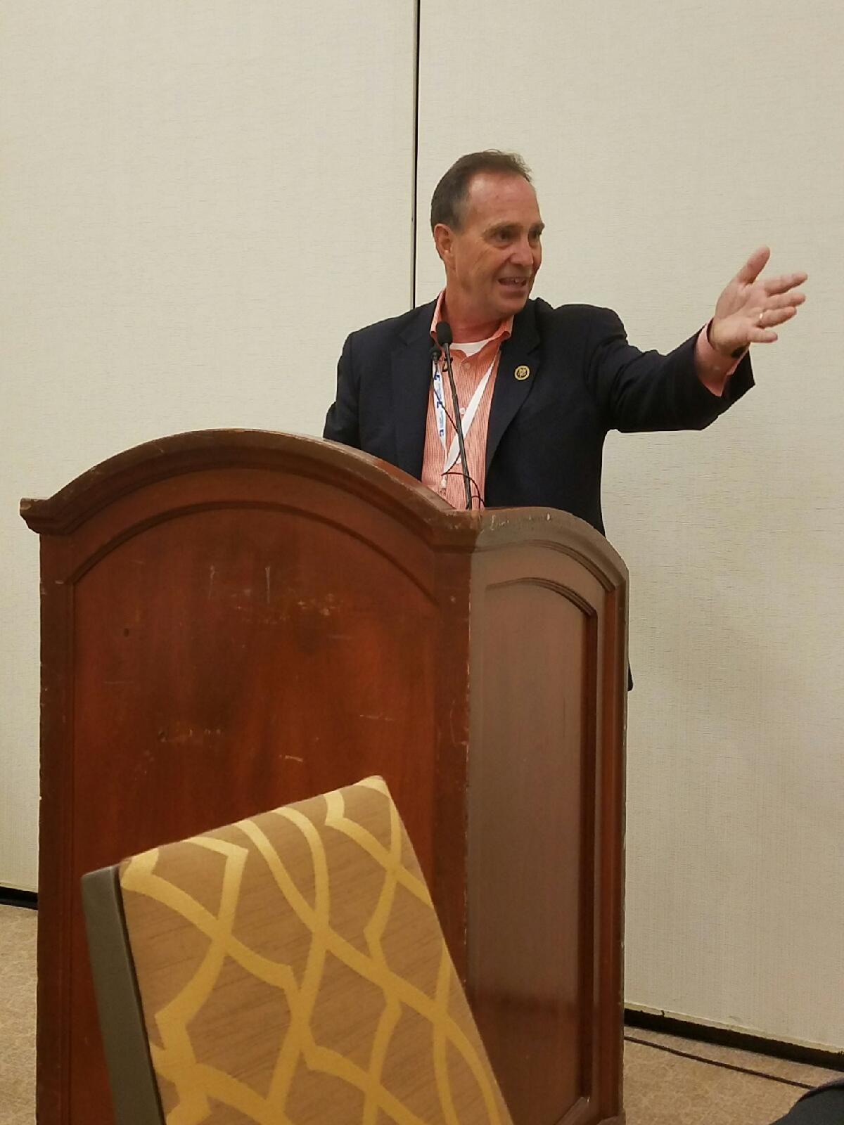U.S. Rep. Ed Perlmutter, D-CD7,gestures as he speaks to the Colorado national Democraticdelegation at their breakfast this morning in Philadelphia. (Photo by Pat Duncan/The Colorado Statesman).