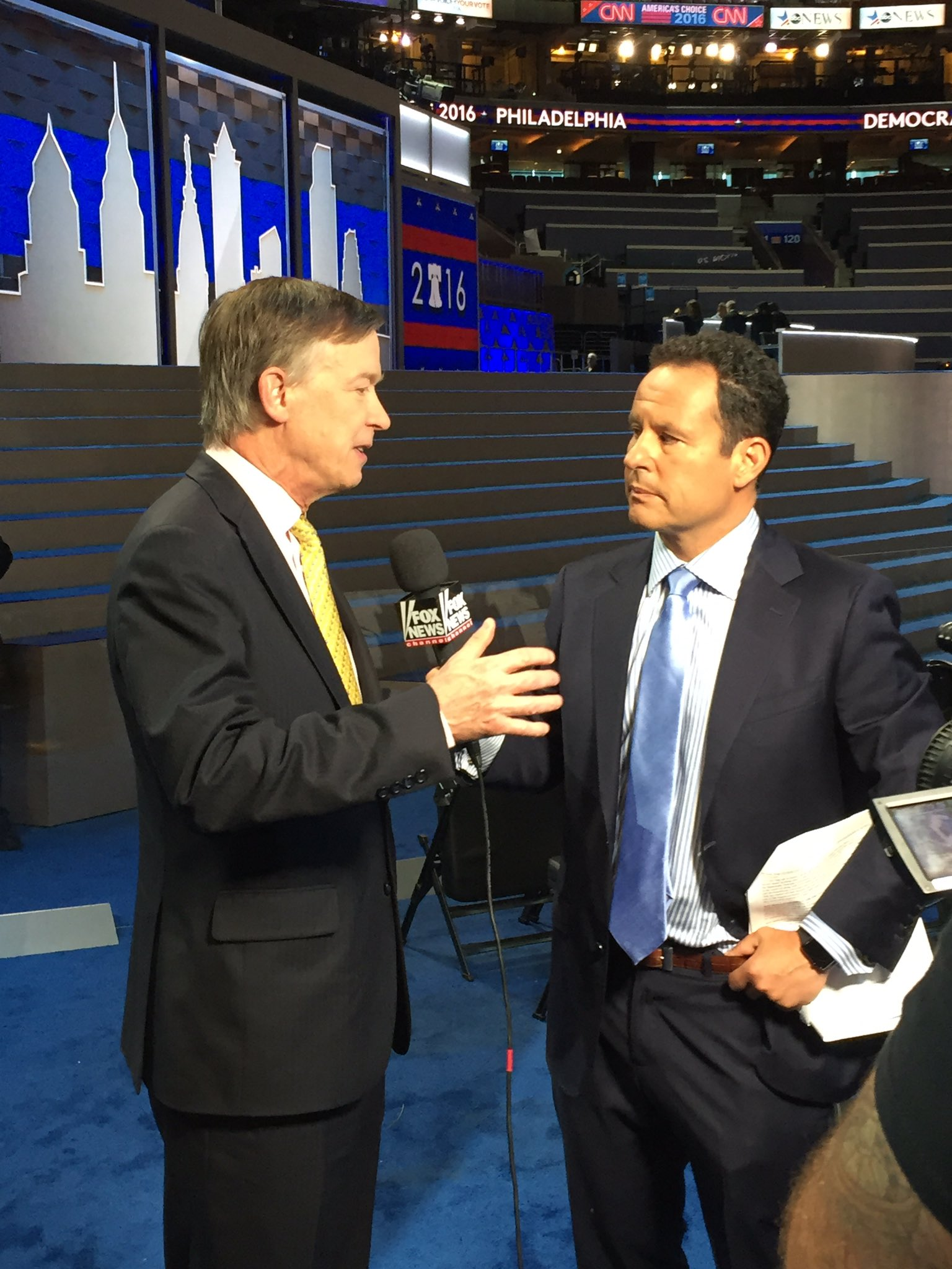 "Gov. John Hickenlooper previews his DNC prime time speech scheduled for tomorrow night with ""Fox and Friends"" co-anchor and host Brian Kilmeade this morning. (Photo via Twitter)"