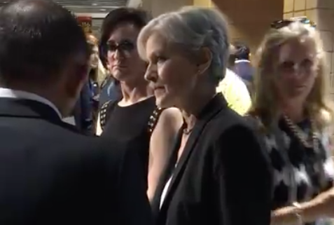 Green Party presidential candidate Jill Stein as viewed throughthe lens of state Rep. Joe Salazar's smartphone.
