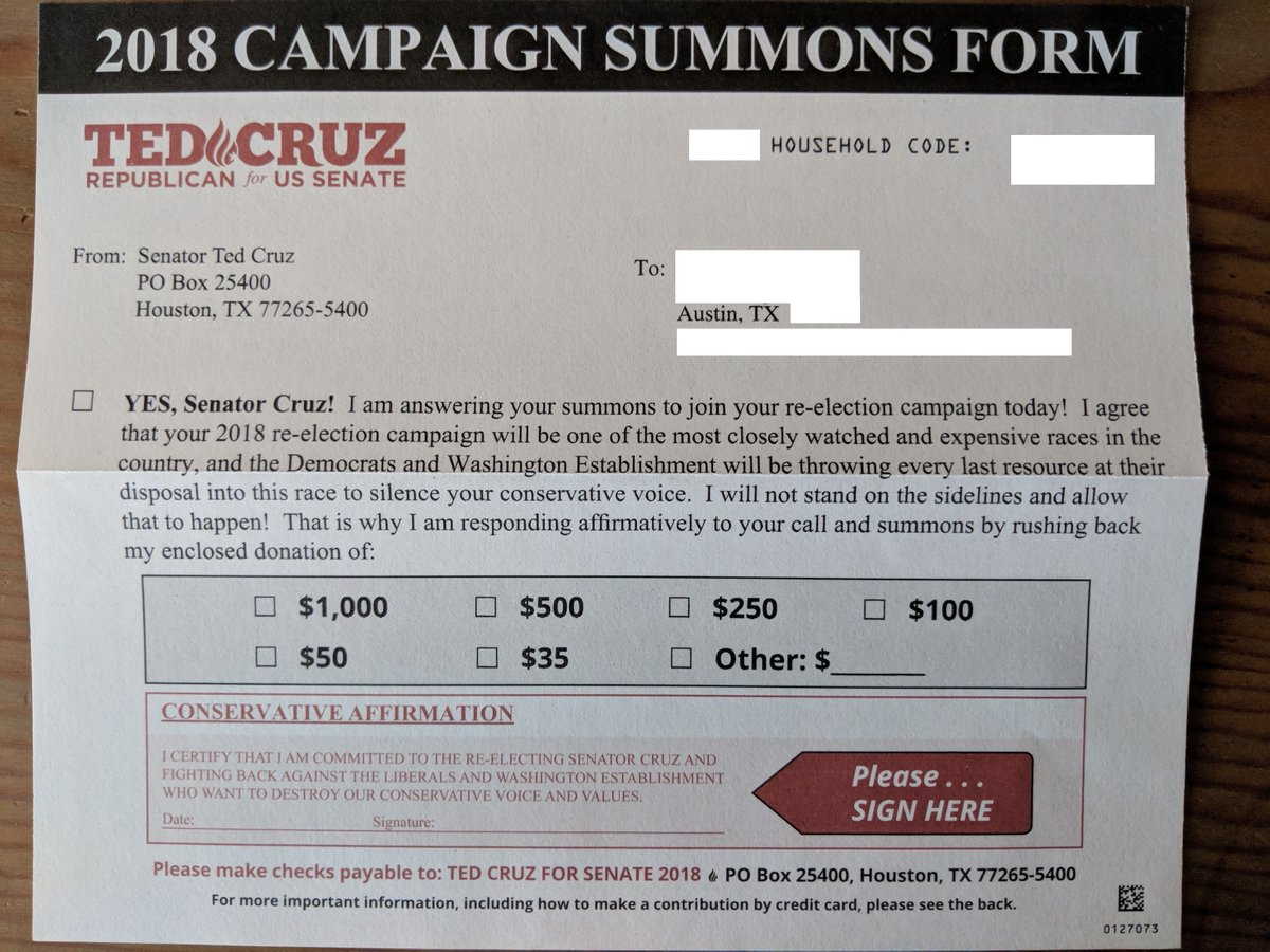 "Ted Cruz ""Summons"" letter"