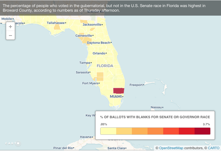 Screen capture of the map of governor, but not senator votes in FL