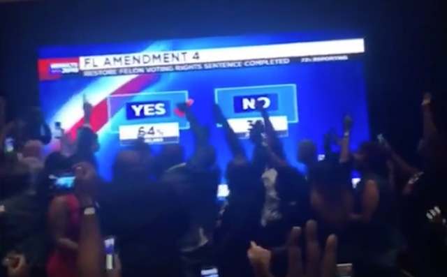 Screen capture of celebration at Amendment 4 party