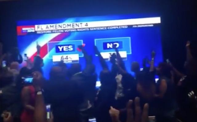 Screen capture of celebration at Amendment 4 party