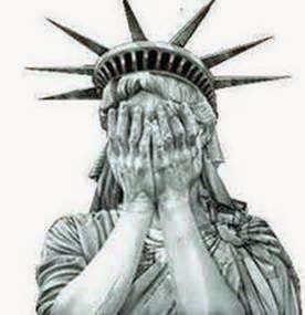 The Statue of Liberty, covering her face