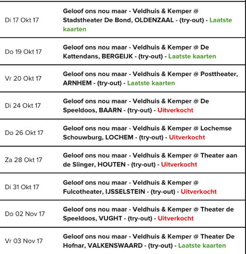 Speellijst Veldhuis en Kemper