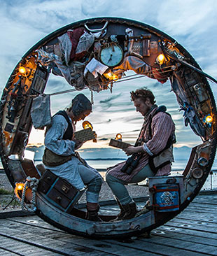 Two people sat in a tube, Acrojou WheelHouse by Steven Edwin Photography