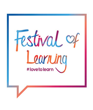 The festival of learning logo - a square speach bubble with the text in side of it