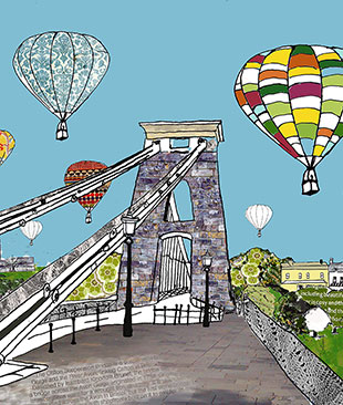 Illustration of Clifton Bridge with Hot Air Balloons behind