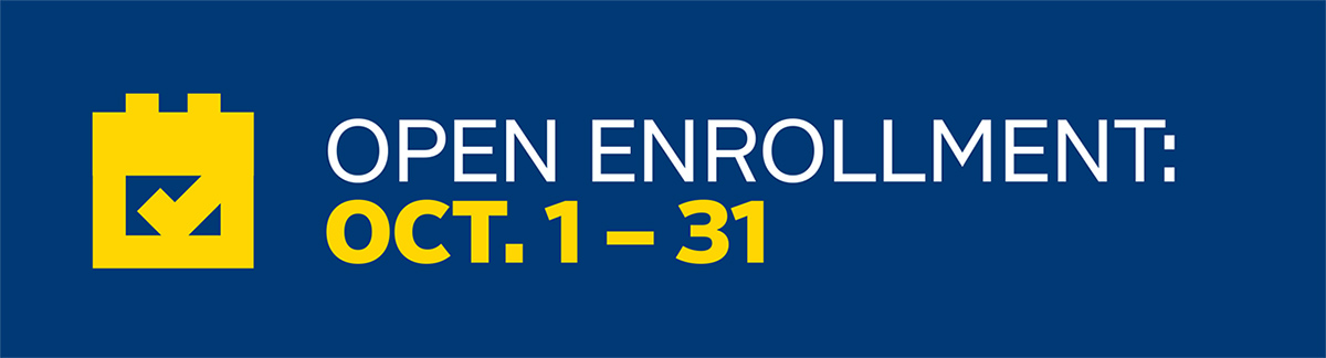 Open Enrollment: Oct. 1 to 31, with calendar icon.