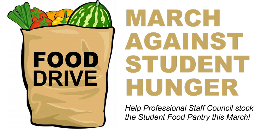 Food Drive artwork with picture of grocery bag. Help Professional Staff Council stock the Student Food Pantry this March!